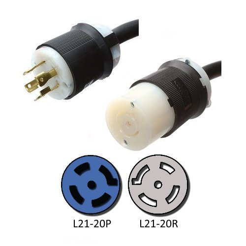 NEMA L21-20 Extension Power Cord - 10 Foot, 20A/208V, 12/5 SJOOW - Iron Box # IBX-4809-10 by Iron Box