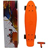 RIMABLE Complete 22' Skateboard ORANGECLEARBLACK (with Gift Box and T Tools)