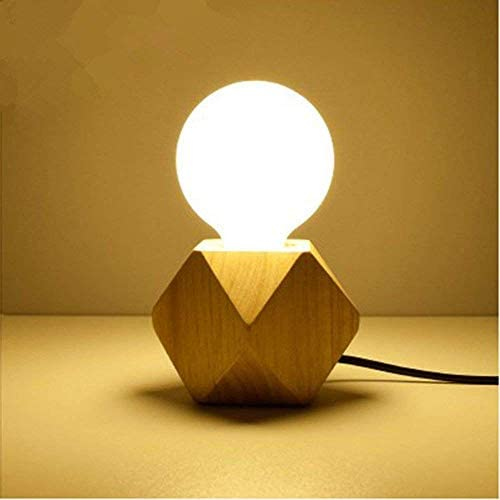XZHU E27テーブルランプ、ミニシンプルLEDソリッドウッド照明装飾プラグイン読書ランプポータブルリビングルーム研究小さなデスクライト