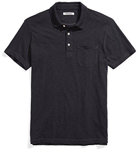 Goodthreads Men's Short-Sleeve Slub Polo, Caviar/Black, Medium by Goodthreads