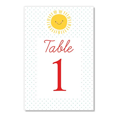Yellow Sunshine Table Numbers Pack of 25 Baby Shower Little Girl Child Daughter Sunny Happy Birthday Baptism Event Décor Single Sided 4
