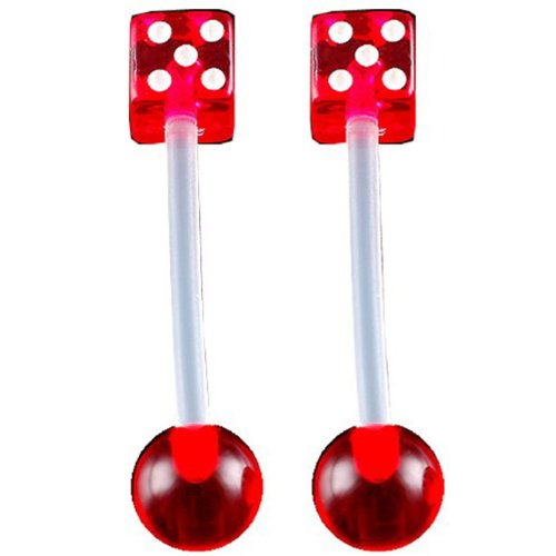14g gauge 5/8 16mm Clear Flexible acrylic tongue bar nipple barbell straight 5mm dices 6mm ball Red Piercing 2Pcs ADOJ