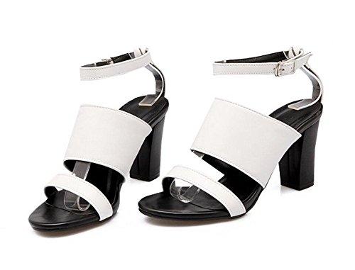 Black 33 36 Negro Compras Para elegancia Damas 38 Simplicidad 41 7cm Hebilla Xie blanco fiesta Sandalias White RwqP61nSxO