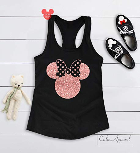 Minnie Mouse Ear Tanks for Women Racerback V-Neck Summer Holiday Tees Girls Custom Workout Muscle -