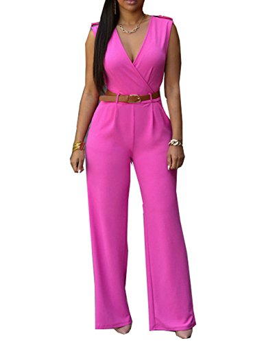 Pink Jumpsuit (iecool Womens Sexy Deep V Sleeveless High Waist Belted Wide Leg Jumpsuit Rose Pink Medium)