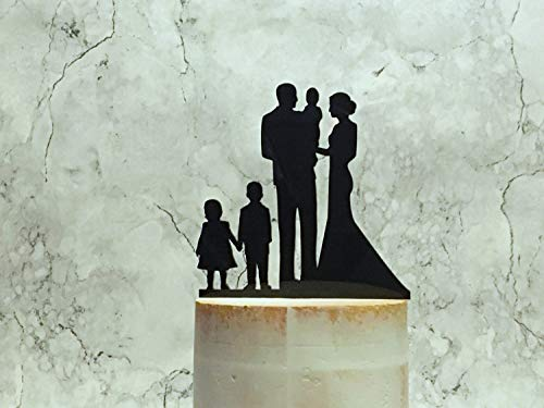 Bride Groom and 3 Children Silhouette Wedding Cake Topper Couple Boy Girl and Baby Cake Topper Family Silhouette Cake Topper Cake Decor