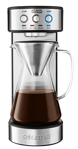 Gourmia GCM4900 Automatic Pour Over Coffee Maker - Authentic Technique - One Touch Brew Controls - 2-4 Cups - Glass Carafe - Stainless Steel Accents - Keep Warm - 60 oz Water Reservoir - 1250W (4 Cup)