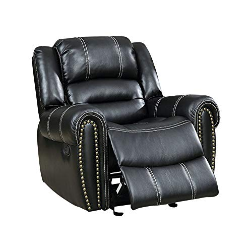 - Benjara BM131820 Leatherette Recliner Chair with Tufted Nail Head Trim Accent, Black