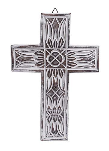 The StoreKing Wooden Decorative Wall Cross French Handmade Plaque Religious Altar Cross Home Living Room Home Decor (Design9)