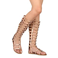 Women Leatherette Open Toe Knee High Rope Gladiator Sandal GGX-1882-3