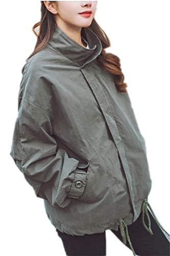 Manches Battercake Cordon Automne Coat Serrage Manche Avant Motard Outerwear Chic Uni Blouson Femme Avec Branché Éclair Fermeture Mode Veste De Poches Grün Longues Bomber SqrSTH