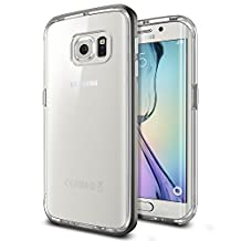 Spigen Neo Hybrid CC Galaxy S6 Edge Case with 1 Back Protector / Flexible Clear Case and Hard Bumper Frame for Samsung Galaxy S6 Edge 2015 - Gunmetal