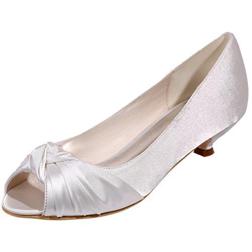 Loslandifen Mujeres Bombas De Satén Peep Toe Plisadas Vamp Zapatos De Boda Plataforma Baja Blanco