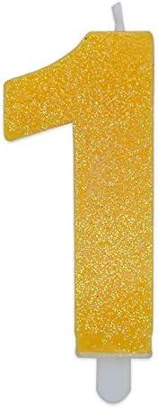 CANDELINA Numero 2 Giallo Glitter 9 CM Candela Gialla Sweety Big Party