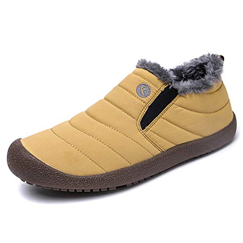 Mens Womens Snow Boots Winter Anti-Slip Ankle Bootie Outdoor Slippers Slip On Warm Fur Lined Yellow-44