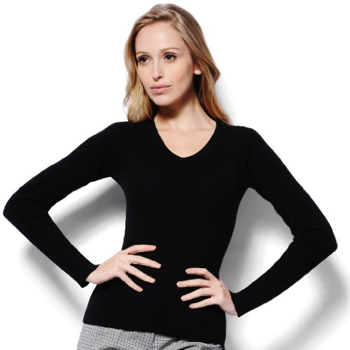 Monterey Club Ladies Classic Solid Cable V-neck Sweater #6134 (Black, (Classic Golf Sweater)