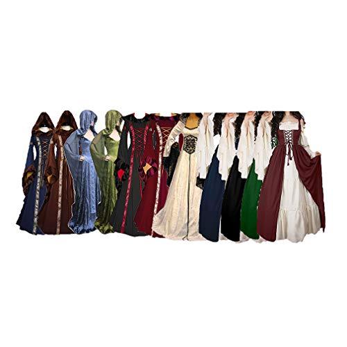Estilo Victoriano Largo Cordon Negro Mujer Medieval de para Vestido Halloween Cosplay Retro con Party Renacentista Vestidos Largas Mangas Vestido Disfraz I7vq0nw8x