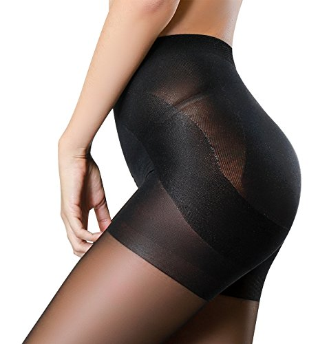 HONENNA Semi Opaque Tights Shaping Control Top Push Up Semi Sheer Pantyhose (Black, Large)