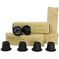 Capsules Nespresso Réutilisables sans BPA Dosettes Rechargeables pour machines Nespresso Originales Pack-6 capsules Noires (Brosse en Plastique et Cuillère en Plastique Gratuits)