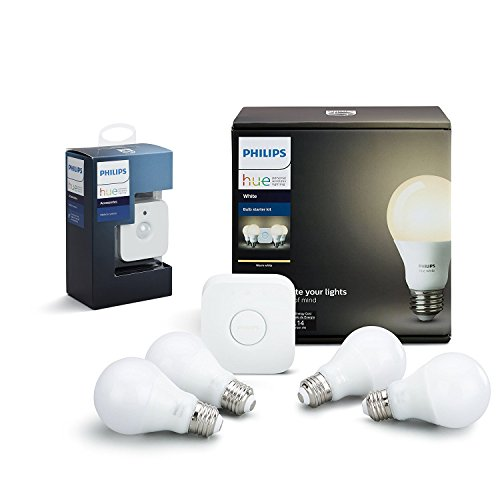 Philips Hue White LED Smart Bulb Starter Kit with Motion Sensor Bundle (Compatible with Amazon Alexa, Apple HomeKit, and Google Assistant) by Philips