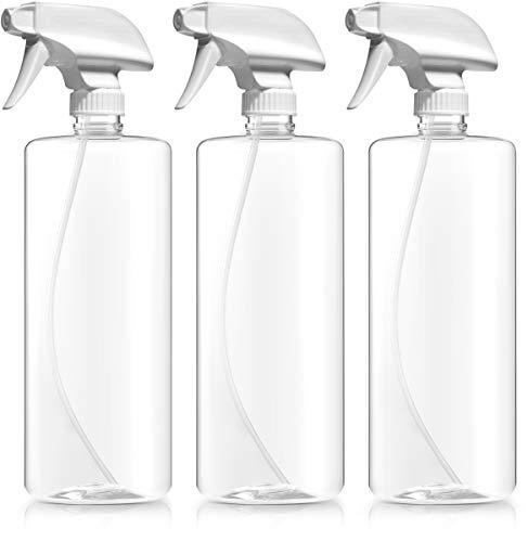 Bar5F Plastic Spray Bottles, BPA Free PETE1, 32 Ounce, Crystal Clear, N7 Sprayer - Spray/Stream/Off, Pack of 3 ()