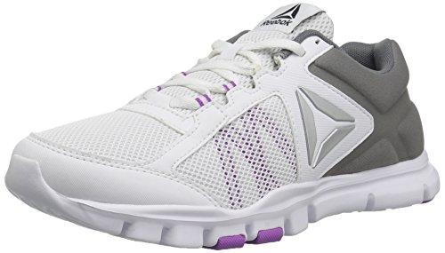 Reebok Women's Yourflex Trainette 9.0 MT Track Shoe, White/Alloy/Vicious Violet, 8 M (Reebok Gym Equipment)