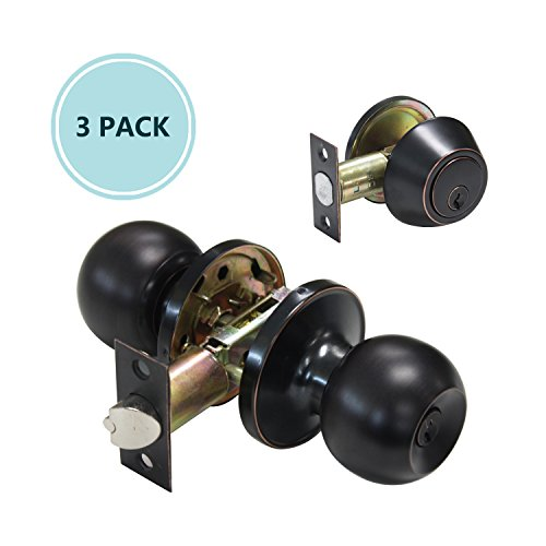 3 PACK of Keyed Entry Ball Door Knob and Deadbolt, Oil Rubbed Bronze Lock set (Keyed Different) (Bronze Ball Solid Knob)