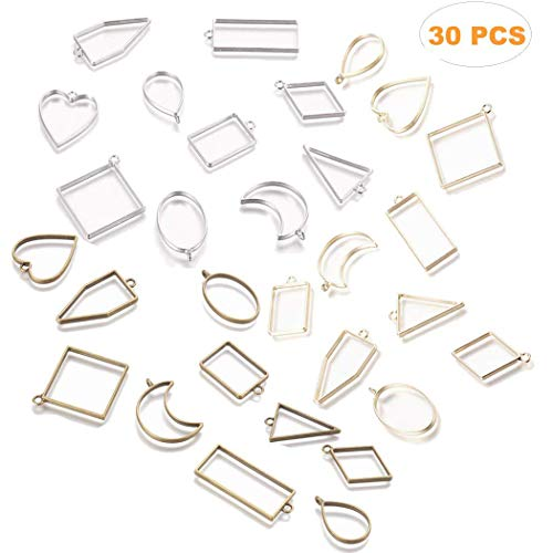 LANBEIDE 30PCS Bezel Open Back Pendant Blanks Charms Hollow Mold Pendant Assorted Geometric Frame Pendant DIY Crafts for Resin Jewelry Making