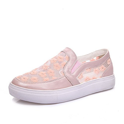 Pumps Toe Material Pink Pull No Closed Round On Soft Shoes Solid Heel VogueZone009 Women's CngTPwqv11