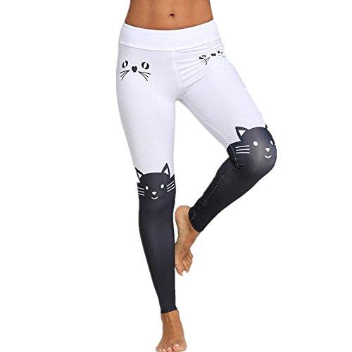 21f555ca08 Inverlee Yoga Pants, Women Leggings Yoga Sport Mid Waist Cat Print Color  Block Skinny Pants