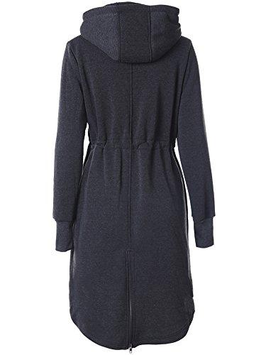Pour Cardigan shirt Outwear Femmes Manteau Sweat Avec Foncé Veste Gris Capuche Zhuikun xfT0aRHqa