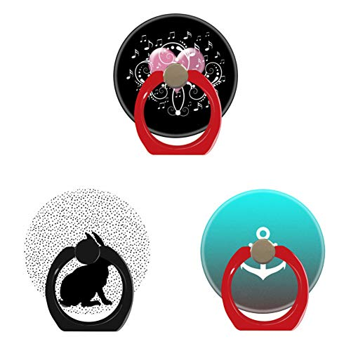 Profile Aqua Rack - Bsxeos 360°Rotation Cell Phone Holder with Car Mount Work for All Smartphones and Tablets-Elegant Profile Sitting Rabbit-Gradient Aqua red White Anchor-Musician Music Lover Cute Elegant Heart(3 Pack)