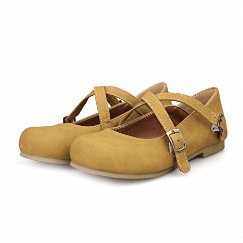 Carol Chaussures Chic Mode Féminine Boucles Casual Rétro Décontracté Confort Appartements Chaussures Jaune