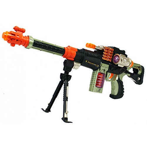 Kid Machine Gun Toy with Dazzling Light Spinning Bullets Realistic Battle Sounds