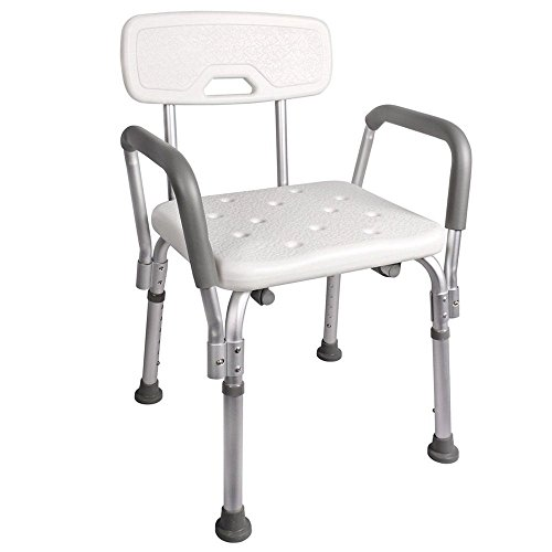 Bathtub Chair Bath Bench Shower Seat Stool Adjustable w/ Back and Arms