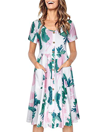 OUGES Women's Long Sleeve V Neck Button Down Midi Skater Dress with Pockets(Floral05,S) (Sleeveless Button Front Dress)