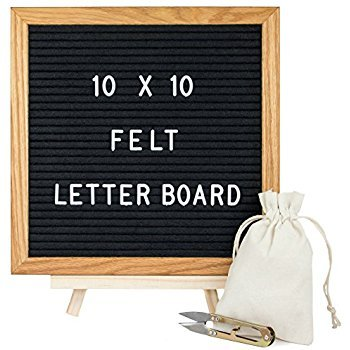 Felt Letter Board 10 x 10 inches with Oak Wood Oiled Stand 360 White 3/4 inch Changeable Letters Wall Mount Hanger 2 Velvet bags and a Scissor by Unlimited (BLACK) KC Letter Board
