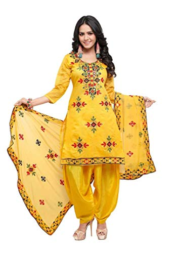 Womens Rajasthani Mirror Work Chanderi Embroidery Readymade patiala Salwar kameez (XX-Large-42, Yellow)