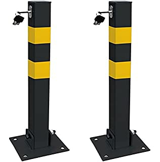 MP Essentials Home Shop Driveways Folding Fold Down Security Parking Post With Lock /& Bolts