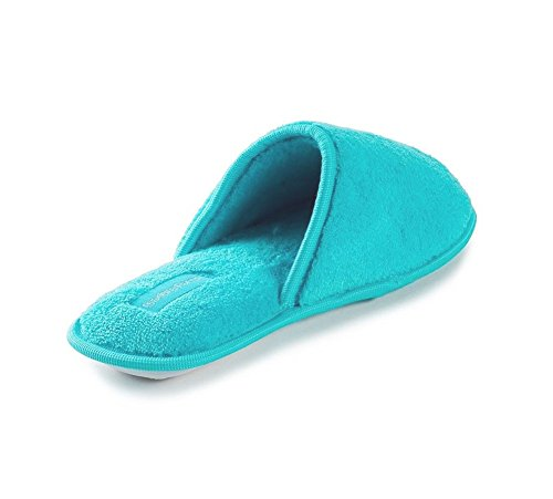 Fashion Blue Simple, Elegant Women's Terry Memory Foam Close Toe House Slippers Blue