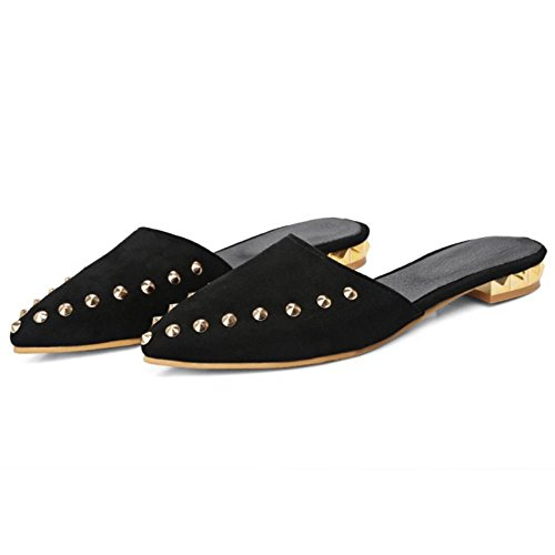 COOLCEPT Mujer Moda Puntiagudo Pantufla Punk Zapatos with Remache Negro