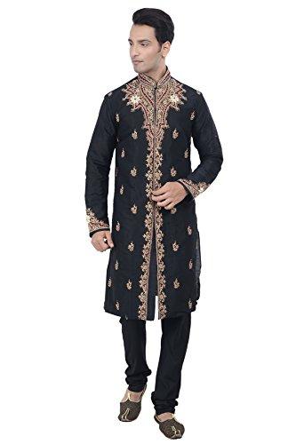 Rajwada Ethnic Indian Design Black Kurta Sherwani for Men 2pc Suit's (XL (42))