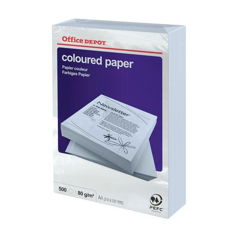 1 Ream (500) sheets Coloured Printer Paper Intense Yellow A4 80gsm - 3219016 Office Depot