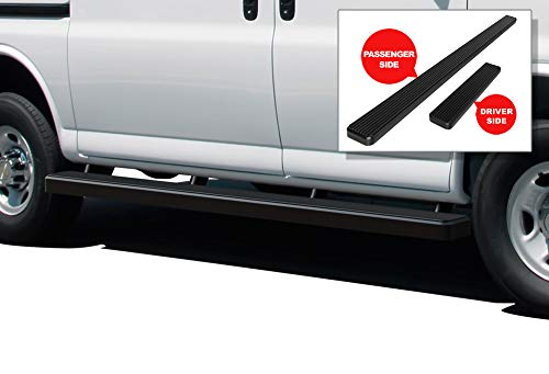 2020 Black Powder Finish - APS iBoard Running Boards (Nerf Bars Side Steps Step Bars) Compatible with 2003-2020 Chevy Express GMC Savana 1500 2500 3500 Full Size Van (Black Powder Coated 5 inches)