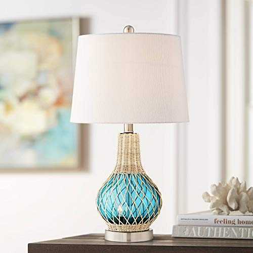 Alana Blue Glass Accent Table Lamp with Night Light - 360 Lighting
