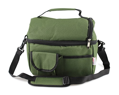 Pack Ahead Double Layer Insulated Lunch Bag - Portable Large Capacity with Adjustable Shoulder Strap (OLIVE GREEN)