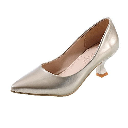 AllhqFashion Closed Pumps Toe Heels Women's Pu Gold Pull On Kitten Square Solid Shoes rwrUq8v