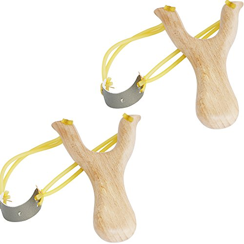 Xelue FF 2 Pack Retro Classic Powerful Durable Solid Wooden Slingshot for Kids Catapult Game Outdoor Hunting (Solid Wooden)