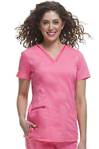 healing hands Purple Label Women's Jasmine 2278 V-Neck Top Scrubs- Sugar Coral- Small