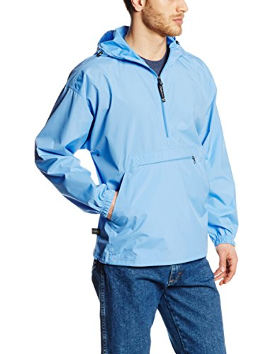 Charles River Apparel Pack-N-Go Wind & Water-Resistant Pullover (Reg/Ext Sizes), Columbia Blue, L
